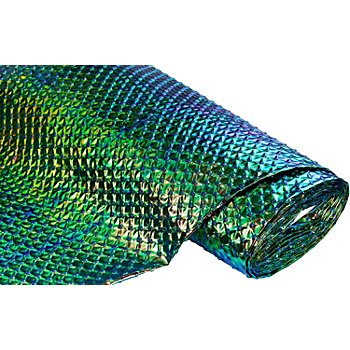 Tissu laqué 'ondine', vert/bleu