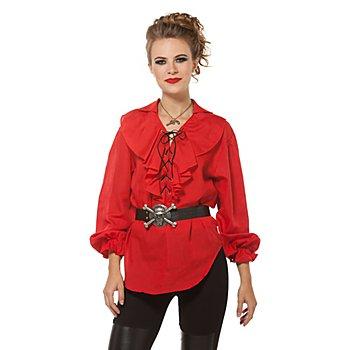 Damen Rüschenbluse, rot