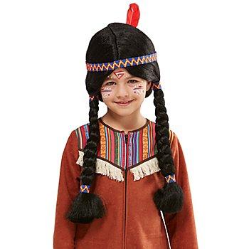 Indianer Perücke für Kinder, schwarz