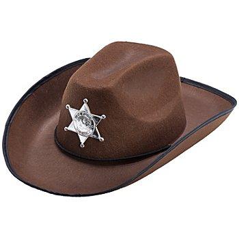 Chapeau de cowboy avec étoile, marron