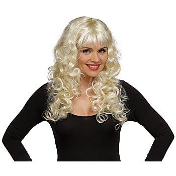 Perruque à cheveux longs frisés, blond