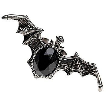 Ring 'Fledermaus', silber/schwarz