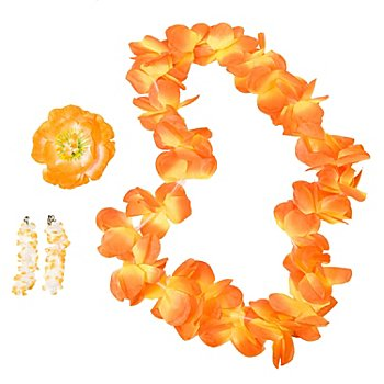 Schmuckset Hawaii Blume, gelb/orange