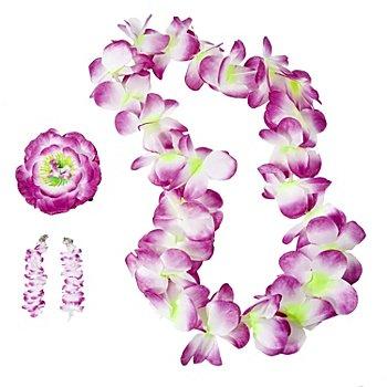 Schmuckset 'Hawaii Blumen', lila/weiß
