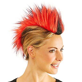 Irokesen-Haarteil, rot/schwarz/rot
