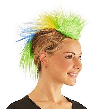 Irokesen-Haarteil, grün/gelb/blau