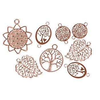 Pendentifs 'Boho', or rose, 17 - 25 mm, 8 pièces