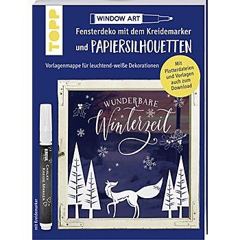 'Fensterdeko mit dem Kreidemarker und Papiersilhoueten - Wunderbare Winterzeit'