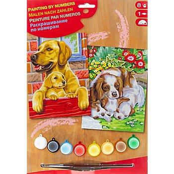 Malen nach Zahlen mit Acrylfarbe 'Hunde', 2 Motive