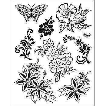 Silikonstempel-Set 'Blumen'