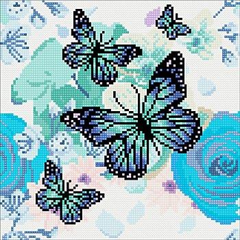 Diamantenstickerei-Set 'Schmetterlinge', 30 x 30 cm