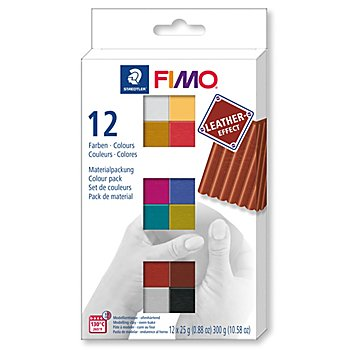 Fimo 'Ledereffekt-Set', 12 Farben