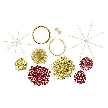 Kit créatif 'motifs déco pour sapin de Noël', rouge/or, 6 pièces