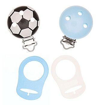 buttinette Set de clips pour attache-sucette, bleu/blanc