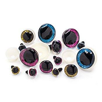 Glitzer-Augen, 1 - 3 cm Ø, 14 Stück