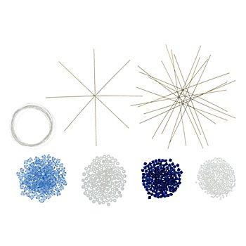 Drahtschneeflocken-Set, blau-weiß, 6 Stück