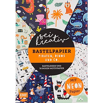 Papierblock 'Sei kreativ – Bastelpapier Piraten, Dinos und Co.', 21 x 29,7 cm, 30 Blatt