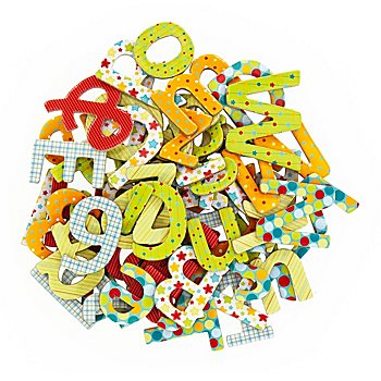 Lettres et chiffres, 1,5 - 3 cm, 67 pièces