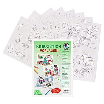 Ursus Kreuzstichvorlagen 'Weihnachtszeit' für Kinder, weiß, 21 x 29,7 cm, 8 Blatt