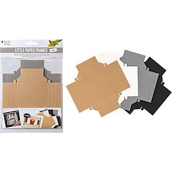 Cadres photo en carton, écru/noir/blanc/gris, 8 pièces
