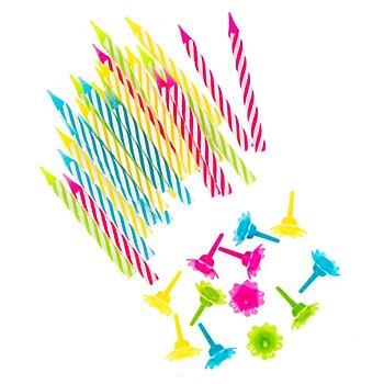 Bougies d'anniversaire avec support, 24 pièces