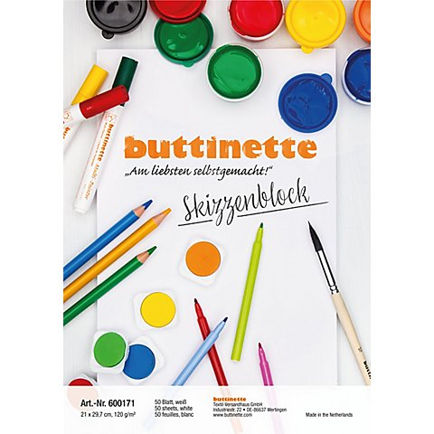 Image of buttinette Skizzenblock, weiss, A4, 50 Blatt