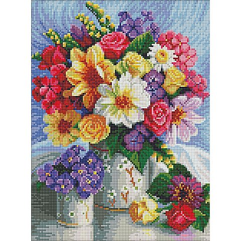 """Image of Diamantenstickerei-Set """"bunter Blumenstrauss"""", 30 x 40 cm"""