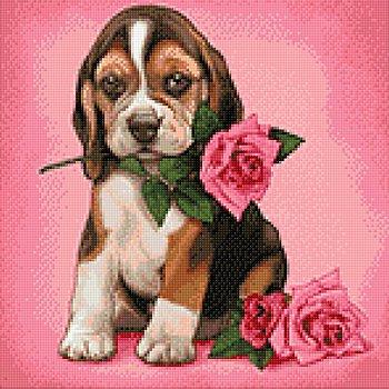 Kit broderie diamant 'chien avec rose', 38 x 38 cm