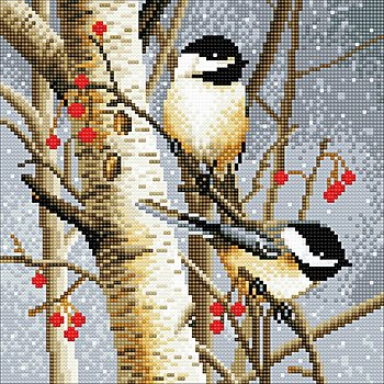 Diamantenstickerei-Set 'Vögel im Winter', 30 x 30 cm