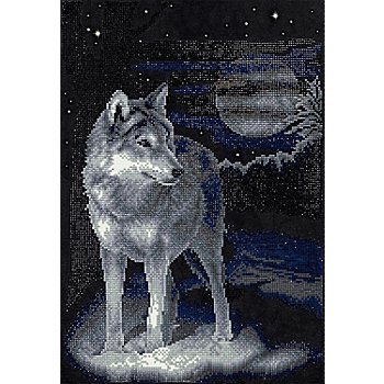 Diamantenstickerei-Set 'Wolf', 31,5 x 46,5 cm