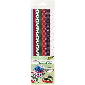 Set de bandes de papier teinté 'Noël', rouge-blanc-vert, 34,5 cm, 210 pièces