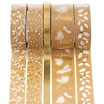 Deko-Tape  'Weihnachten', gold, 6 - 18 mm, 25 m