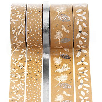 Rubans adhésifs décoratifs 'Noël', argent/blanc, 6 - 18 mm, 25 m
