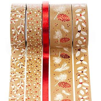 Deko-Tape  'Weihnachten', rot, 6 - 18 mm, 25 m