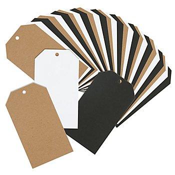 Set d'étiquettes en papier, noir/blanc/marron, 9 x 16 cm, 30 pièces