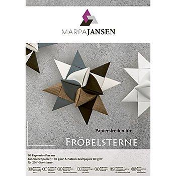 Papierstreifen-Set Fröbelsterne, braun-grau-schwarz-weiß, 80 Streifen