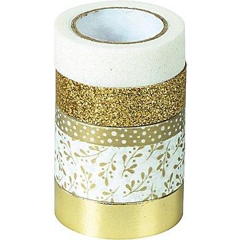 Rubans adhésifs décoratifs, or/blanc, largeur : 5 - 18 mm, longueur : 2 - 6,5 m