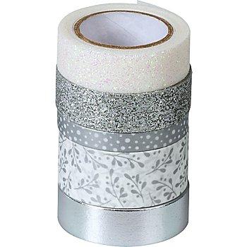Deko-Tape, silber, Breite 6 - 18 mm, Länge 2 - 6,5 m