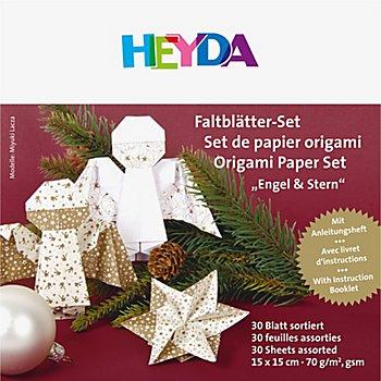 Heyda Faltblätter 'Engel & Stern', 15 x 15 cm, 30 Blatt