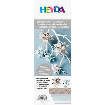 Papierstreifen-Set Fröbelsterne, mint-braun, 96 Streifen
