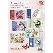 3D-Bastelmappe 'Blumenkarten' mit Transparentpapier, für 10 Karten