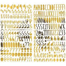 Autocollants 'lettres & chiffres', or, 26 x 14,5 cm, 2 feuilles