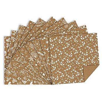 Ursus Papier origami en papier kraft 'Noël', marron/blanc, 15 x 15 cm, 100 feuilles
