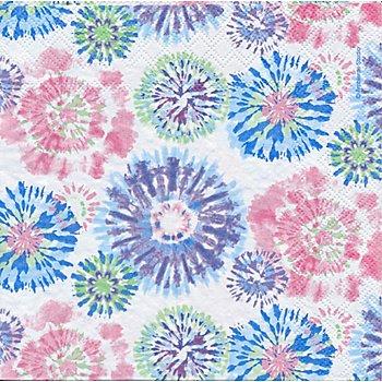 Serviettes en papier 'batik rose/bleu', 33 x 33 cm, 20 pièces