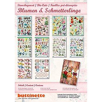 3D-Stanzbogen-Set 'Blumen & Schmetterlinge', 10 Stück