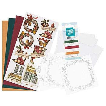 Kit créatif pour cartes à broder 'Noël Nostalgie'