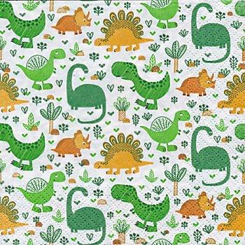 Serviettes en papier 'dinosaures', 33 x 33 cm, 20 pièces