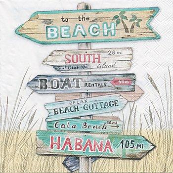 Serviettes en papier 'panneau de plage', 33 x 33 cm, 20 piéces