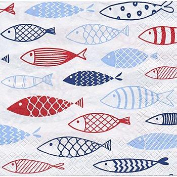 Serviettes en papier 'poissons', 33 x 33 cm, 20 pièces