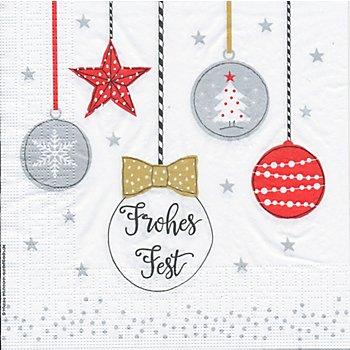 Serviettes en papier 'boules de Noël', 33 x 33 cm, 20 pièces